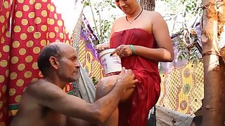hot Indian aunty taking shower in open joined by mature hubby