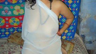 Rupali bhabhi in white see threw dupatta showing big brown nipple boobs