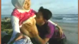 Pakistani couple enjoying sex on beach