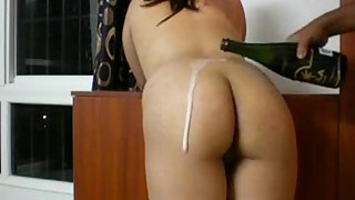 Horny south Indian men licking wife ass with champange